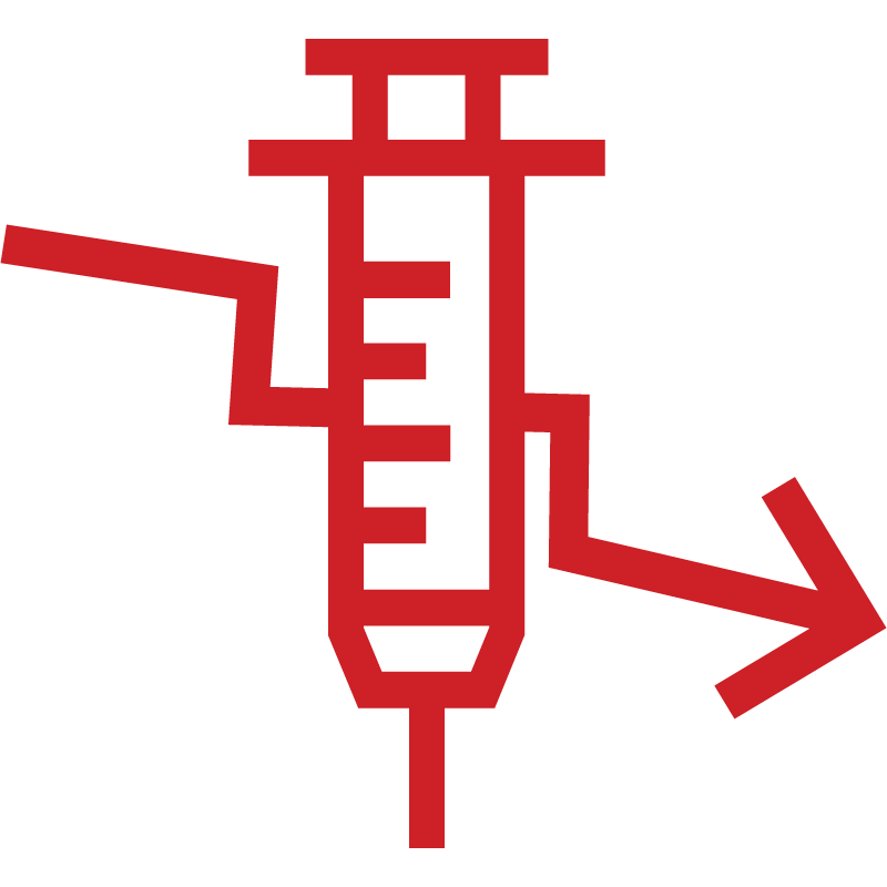 Icon of syringe and falling line chart