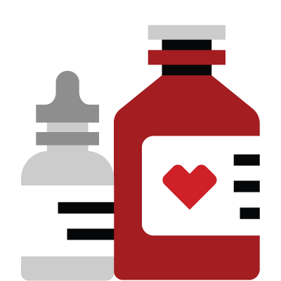 Pictogram of a pill bottle and eyedrop bottle