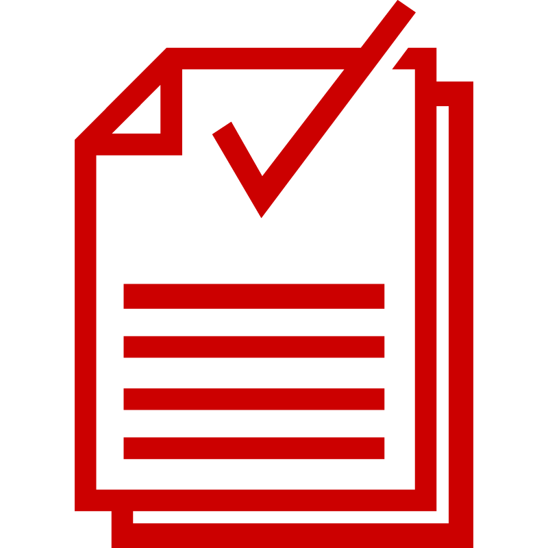 Icon of documents with a checkmark symbol