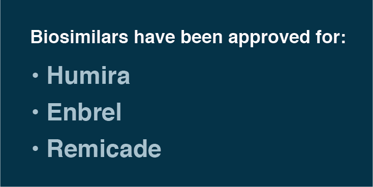 Biosimilars have been approved for Humira, Enbrel and Remicade