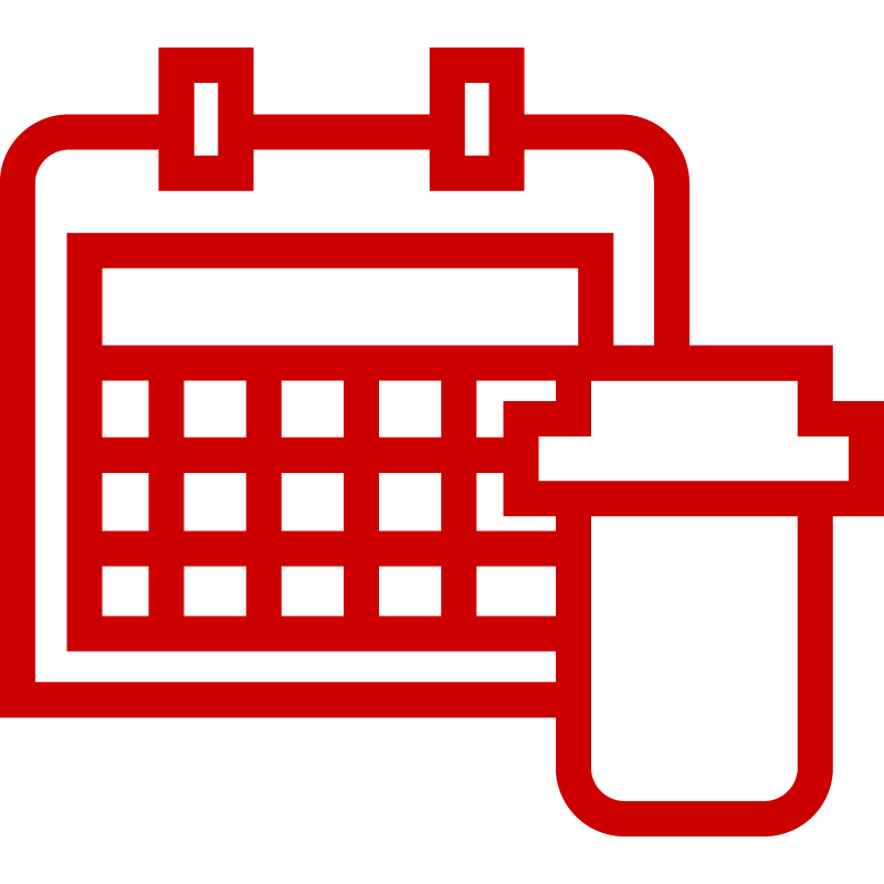 Icon of pill bottle and calendar
