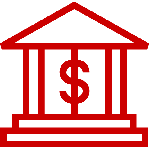 Icon of bank with dollar sign