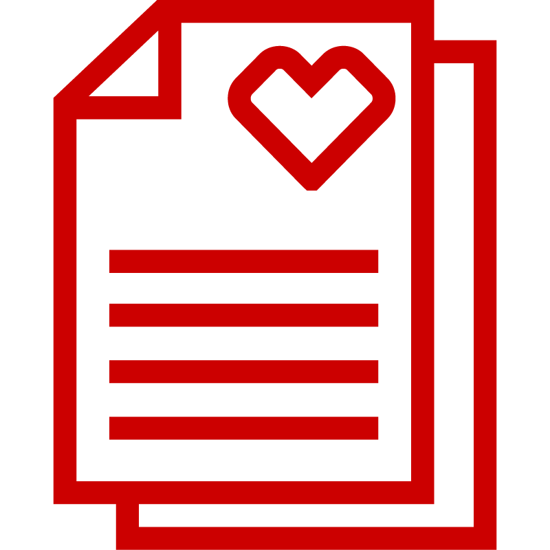 Icon of document with heart shape symbol