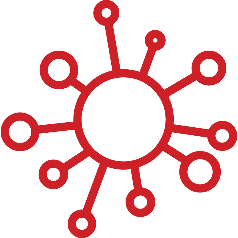 Icon depicting a virus cell