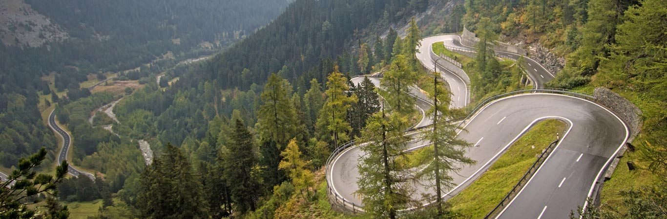 Twisting mountain road in the Swiss alps