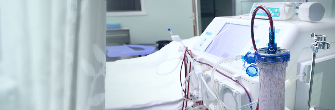 Dialysis machine in a hospital room