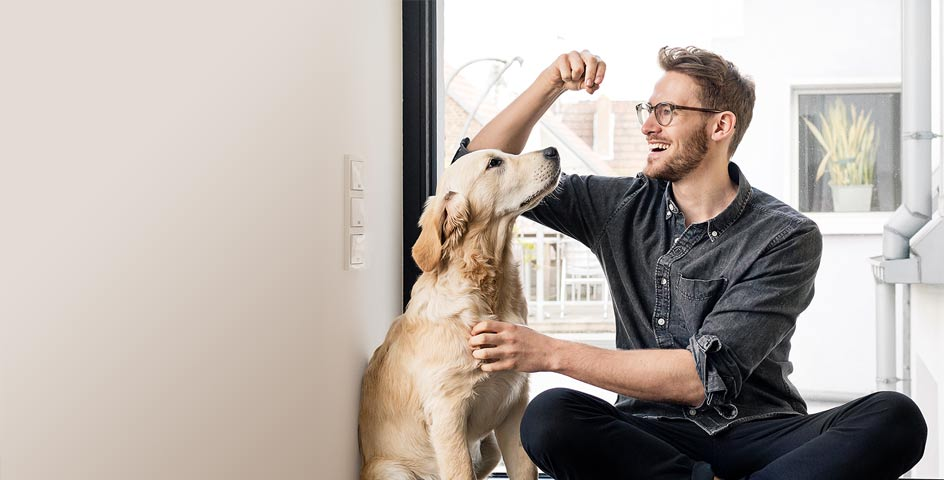 Young man feeding his dog in the living room