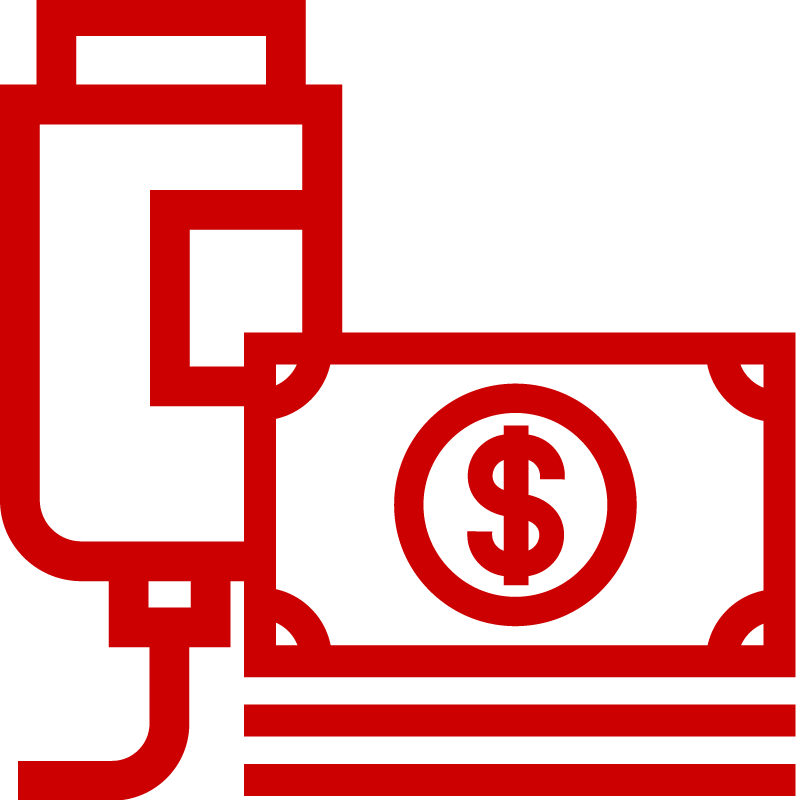 Icon of infusion bag and dollar bills