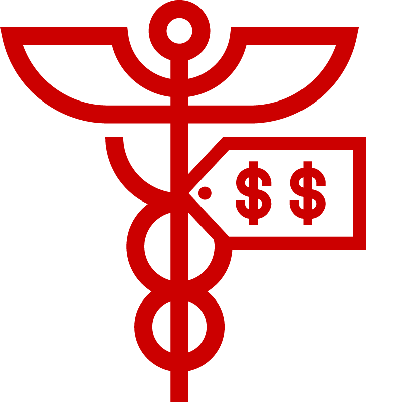 Icon of caduceus symbol and dollar sign