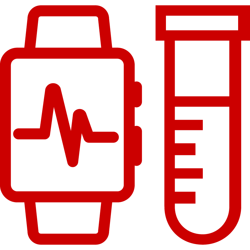 Icon of smart watch and drug vial