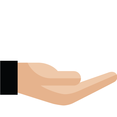 Pictogram of a hand cradling a heart
