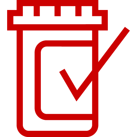Icon of pill bottle with checkmark