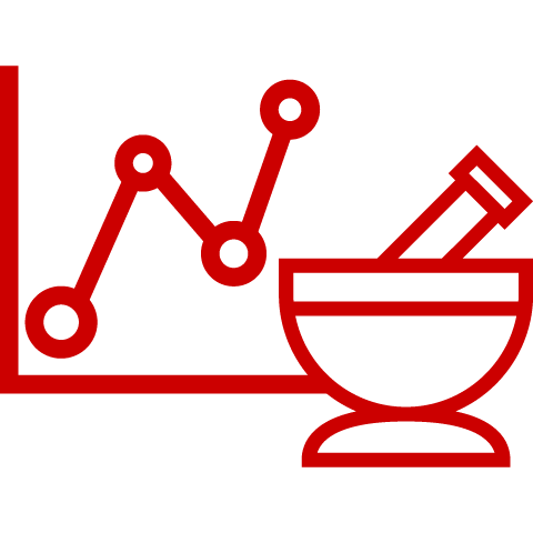 Icon of line chart, next to mortar and pestle