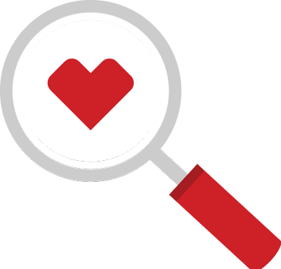 Pictogram of a magnifying glass inspecting the CVS Health heart logo