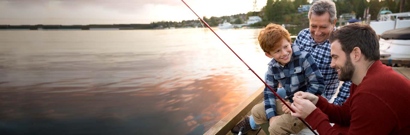 Family fishing at a lake