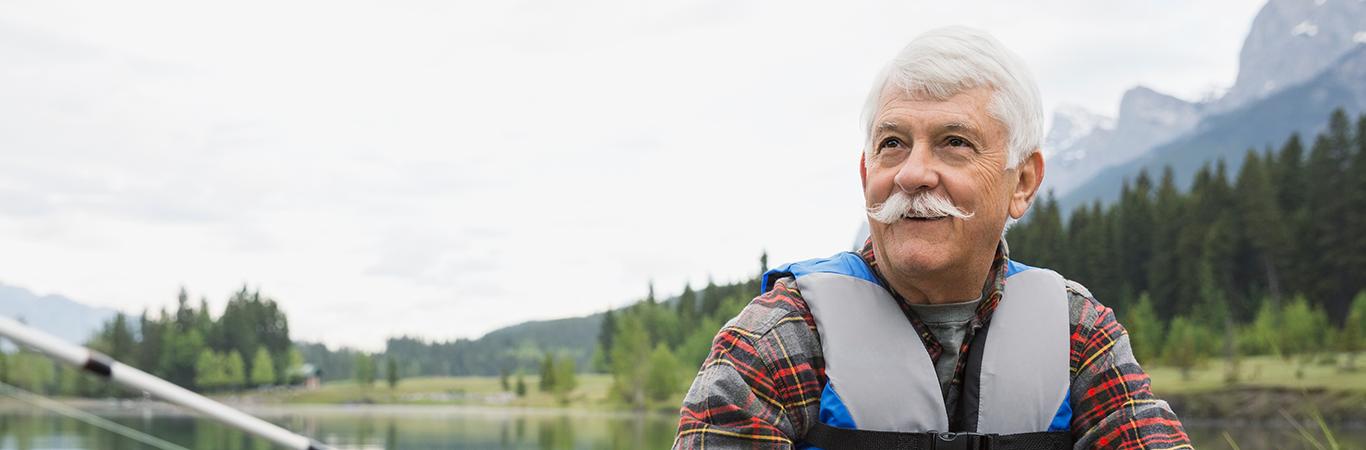 Senior canoeist outdoors
