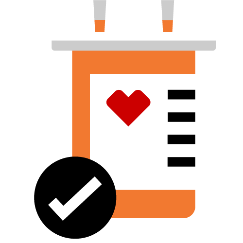 Pictogram of a prescription bottle with a check mark