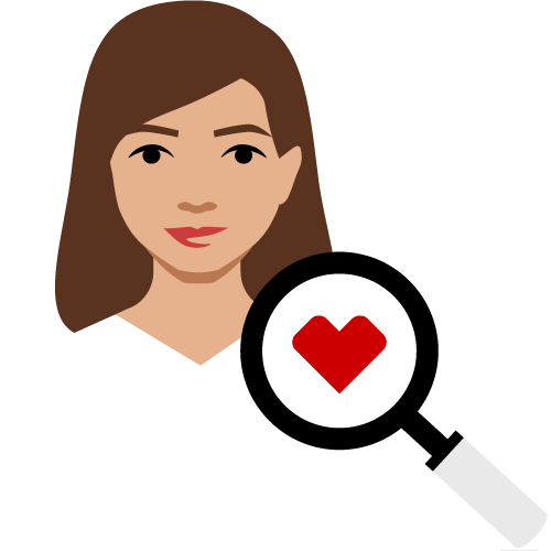 woman with heart spyglass pictogram