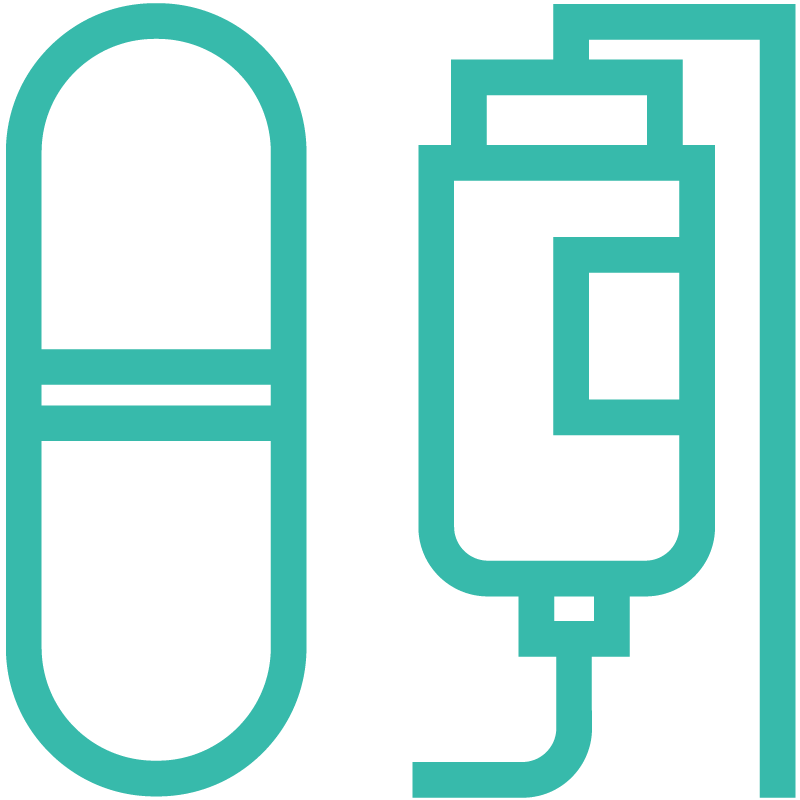 Pill and infusion bag icon